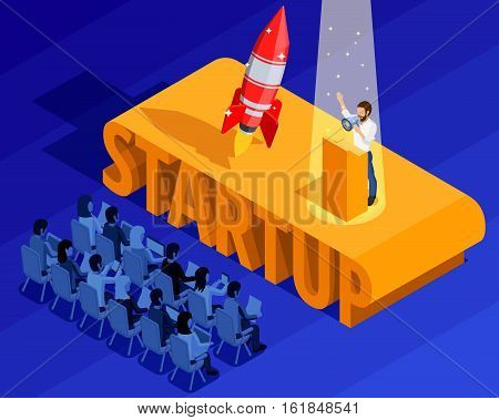 Business startup isometric template with businessman and audience on presentation of project launch vector illustration