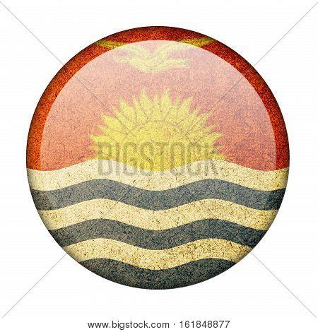 Kiribati button flag  isolate  on white background,3D illustration.