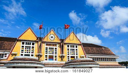 Dalat Train Station With Beautiful Blue Sky