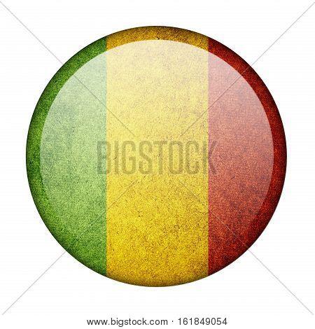 Mali button flag  isolate  on white background,3D illustration.