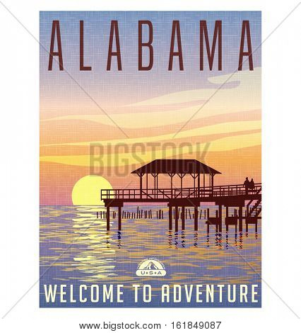 Alabama, United States travel poster or luggage sticker. Scenic illustration of a fishing pier on the Gulf coast at sunset.  poster