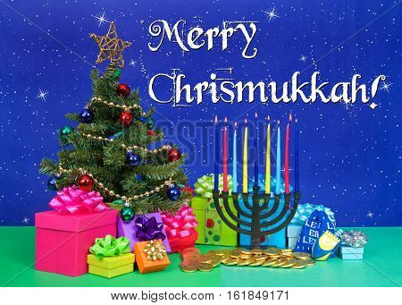 Christmas tree with presents next to Hanukkah menorah burning candles dreidel chocolate gold coin gifts. Many multi faith families celebrate both Xmas and Hanukkah. Merry Chrismukkah