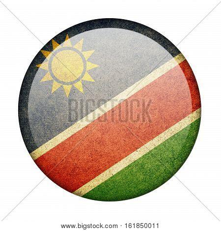 Namibia button flag  isolate  on white background,3D illustration.