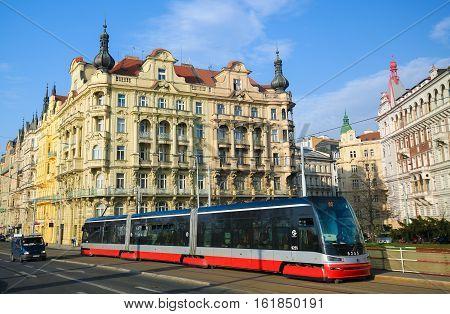 Prague, Czech Republic, Red Tram Passing Through Nove Mesto