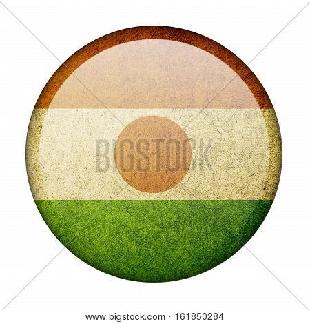 Niger button flag  isolate  on white background,3D illustration.