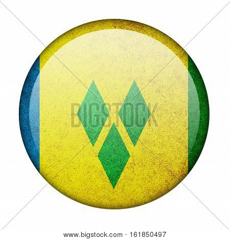 Saint Vincent and the Grenadines button flag  isolate  on white background,3D illustration.