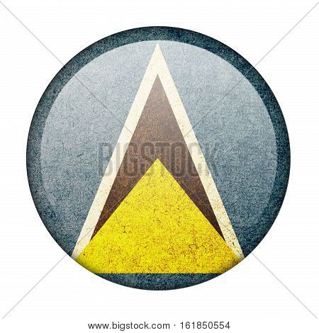 Saint Lucia button flag  isolate  on white background,3D illustration.