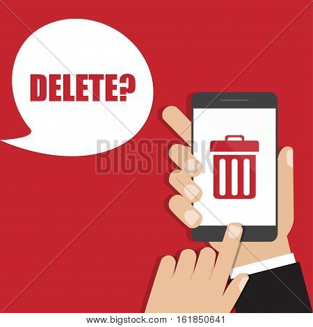 Hand holding smartphone with trash bin icon. Delete concept