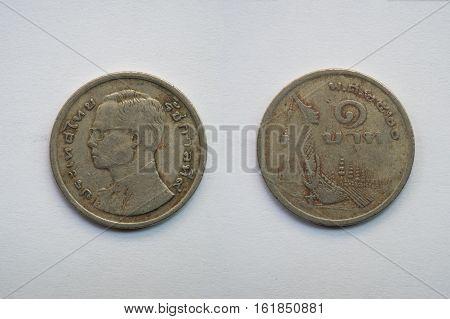Old Thai coin on white background 1 baht B.E. 2520
