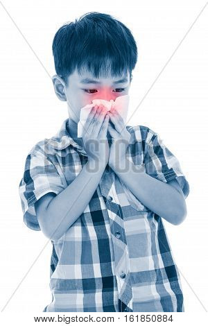 Asian Boy Using Tissue To Wipe Snot . Child With Allergy Symptom. Isolated On White Background.