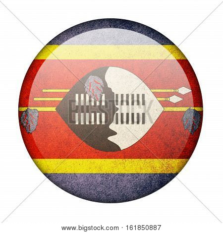 Swaziland button flag isolate on white background