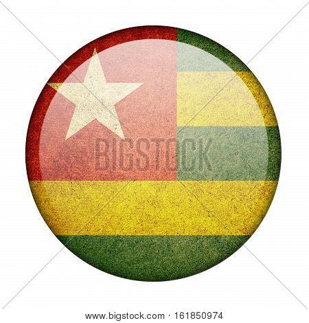 Togo button flag isolate on white background