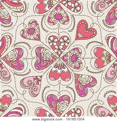 Beige background with color decorative valentine hearts vector illustration. Ideal for printing onto fabric and paper or scrap booking