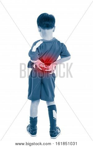 Back Pain. Child Rubbing The Muscles Of His Lower Back. Isolated On White Background.