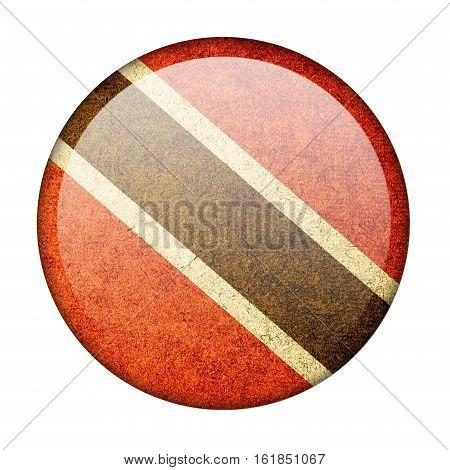 Trinidad and Tobago button flag isolate on white background
