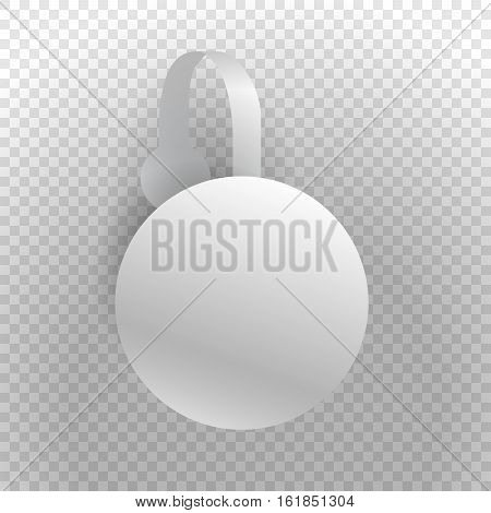 Vector wobbler mockup with transparent strip and transparent background.Template for your hanging shelf tag design. Sale design object, advertising