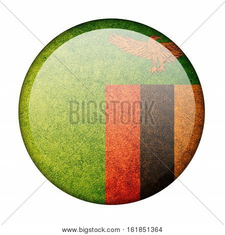 Zambia button flag isolate on white background