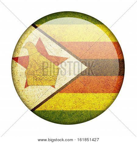 Zimbabwe button flag isolate on white background