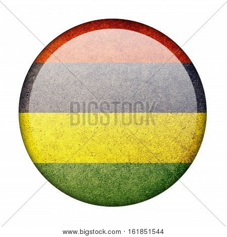 Mauritius button flag isolate on white background