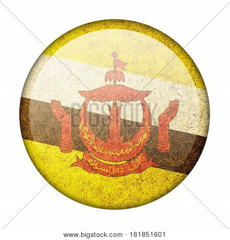 Brunei button flag isolate on white background