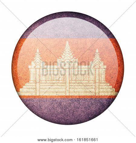 Cambodia button flag isolate on white background