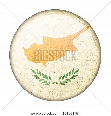Cyprus button flag isolate on white background