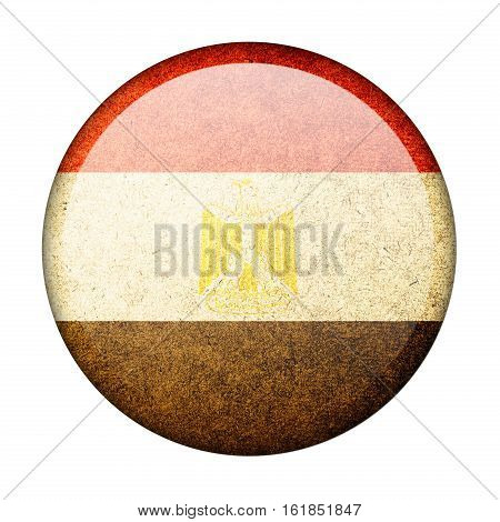Egypt button flag isolate on white background