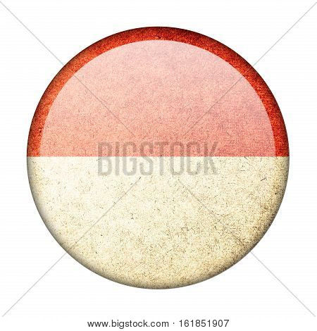 Indonesia button flag isolate on white background