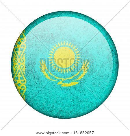 Kazakhstan button flag isolate on white background