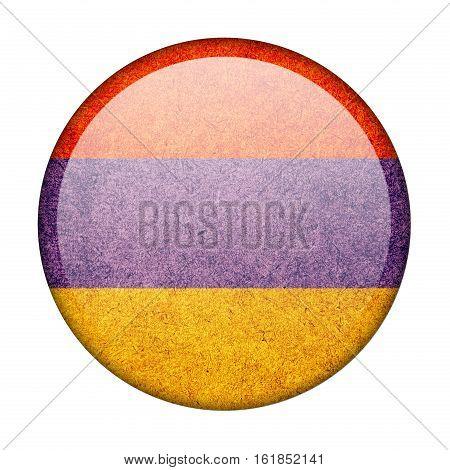 Armenia button flag isolate on white background