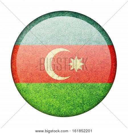 Azerbaijan button flag isolate on white background