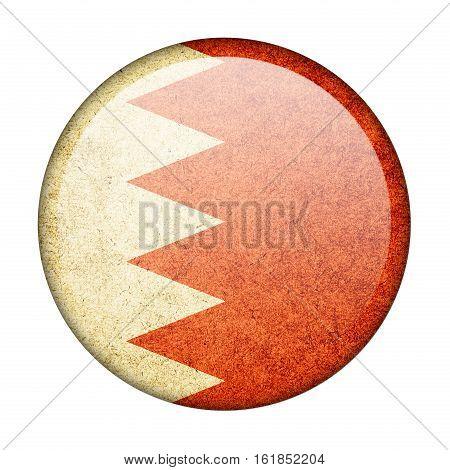 Bahrain button flag isolate on white background