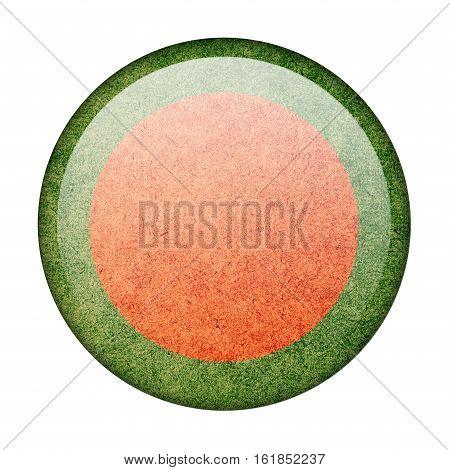 Bangladesh button flag isolate on white background