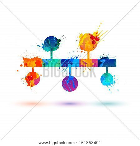 Infographics icon. Timeline vector watercolor splash symbol