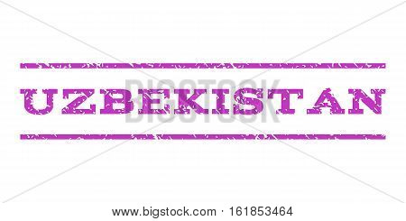 Uzbekistan watermark stamp. Text tag between horizontal parallel lines with grunge design style. Rubber seal stamp with scratched texture. Vector violet color ink imprint on a white background.