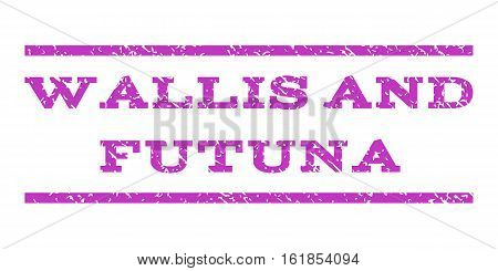 Wallis and Futuna watermark stamp. Text tag between horizontal parallel lines with grunge design style. Rubber seal stamp with dust texture. Vector violet color ink imprint on a white background.