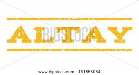 Altay watermark stamp. Text caption between horizontal parallel lines with grunge design style. Rubber seal stamp with dirty texture. Vector yellow color ink imprint on a white background.