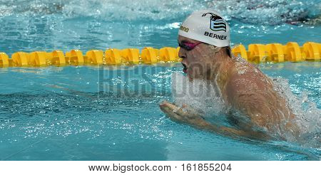 Hong Kong China - Oct 30 2016. Olympian and World Youth gold medalist Peter BERNEK (HUN) swimming in the Men's Individual Medley 200m Preliminary Heat. FINA Swimming World Cup Victoria Park