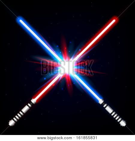 Crossed light swords on night sky background. Vector, eps 10, isolated