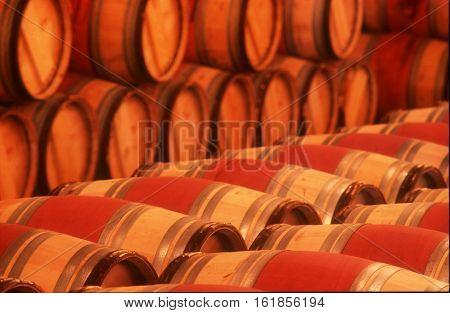 wine barrels in a castle cellar France