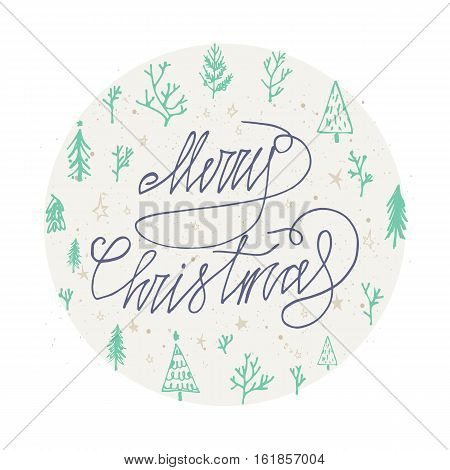 Merry Christmas card with round christmas tree Season's Greetings card. Hand lettering calligraphic inscription by brush for Christmas New Year greeting card template. Vector illustration