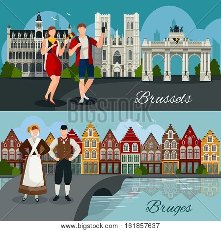 Flat style compositions with architecture of belgian cities tourists and residents in national clothing isolated vector illustration