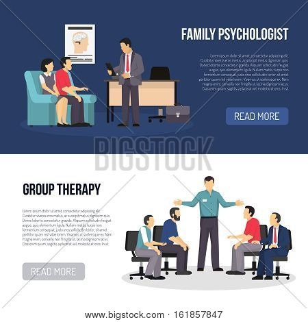 Two horizontal psychologist banners with people in classes of group therapy and family psychologist counseling wife and husband flat vector illustration