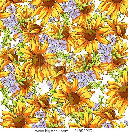 Bright background of sunflowers and forget-me for a good mood