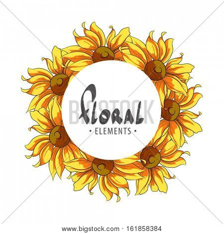 Solar Frame of sunflowers on a white background with place for your congratulations