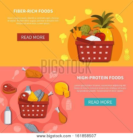 Supermarket food 2 horizontal banners with read more button basket high protein fiber rich foods orange pink background flat vector illustration