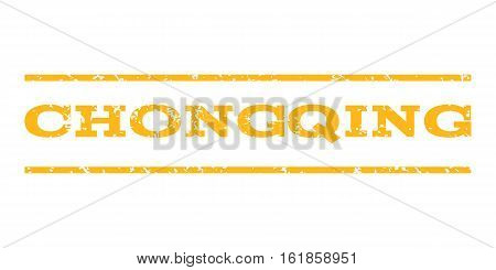 Chongqing watermark stamp. Text caption between horizontal parallel lines with grunge design style. Rubber seal stamp with dirty texture. Vector yellow color ink imprint on a white background.