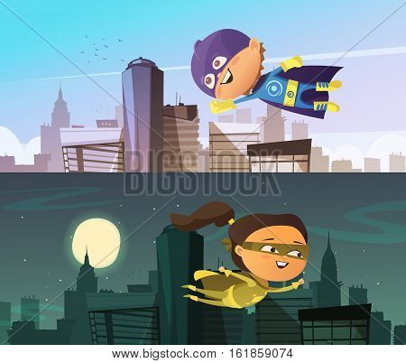 Kids superhero two flat horizontal banners with cartoon boy and girl figurines dressed in cloaks and masks and flying above town skyscrapers vector illustration