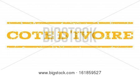 Cote D'Ivoire watermark stamp. Text caption between horizontal parallel lines with grunge design style. Rubber seal stamp with scratched texture. Vector yellow color ink imprint on a white background.