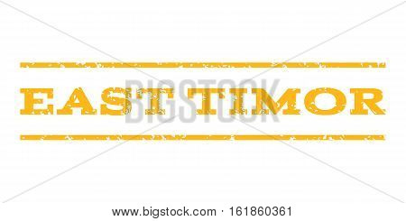 East Timor watermark stamp. Text tag between horizontal parallel lines with grunge design style. Rubber seal stamp with dust texture. Vector yellow color ink imprint on a white background.